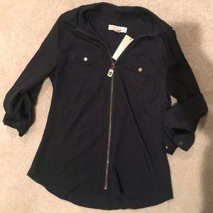 Michael Kors navy top with zipper in the front